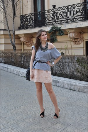 peach Zara dress - heather gray Zara t-shirt - black Zara heels